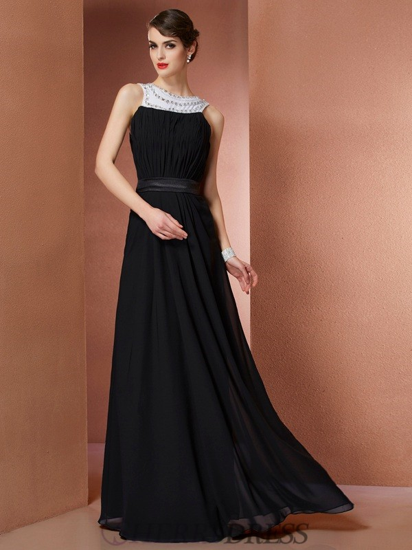 Sheath/Column Scoop Chiffon Sleeveless Floor-Length Dresses