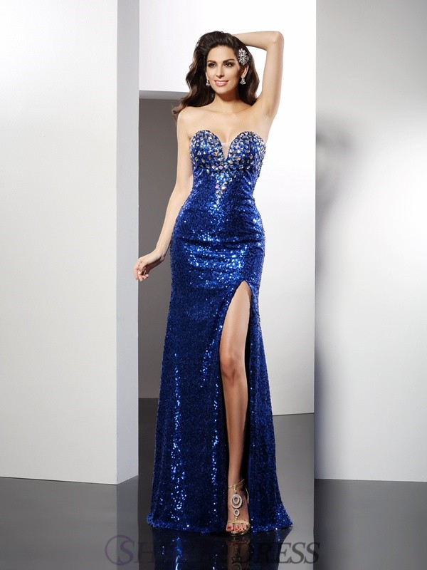 Sheath/Column Sweetheart Sequins Sleeveless Floor-Length Dresses