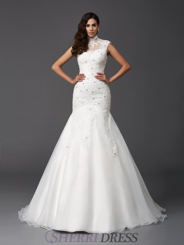 Trumpet/Mermaid High Neck Organza Sleeveless Sweep/Brush Train Wedding Dresses
