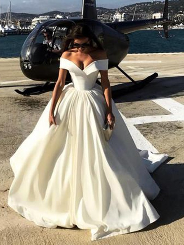 Ball Gown Off-the-Shoulder Satin Sleeveless Sweep/Brush Train Wedding Dresses