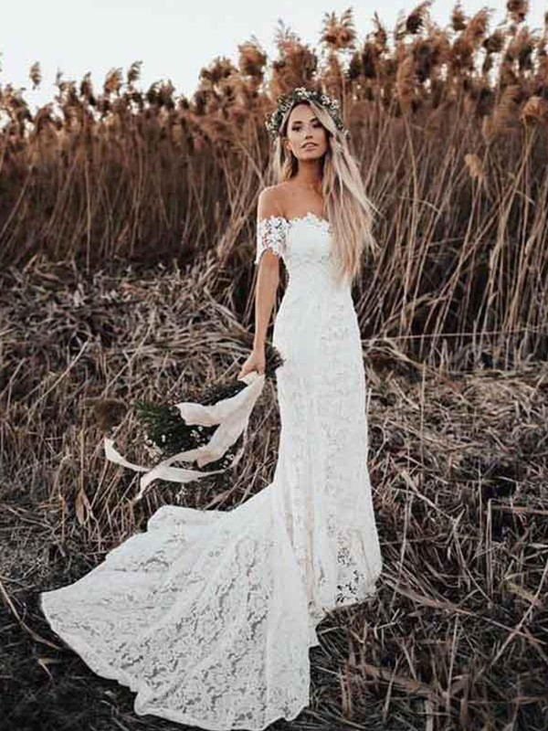 Trumpet/Mermaid Off-the-Shoulder Lace Short Sleeves Court Train Wedding Dresses