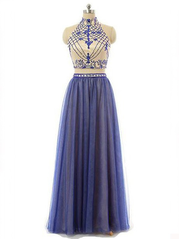 A-Line/Princess High Neck Chiffon Sleeveless Floor-Length Two Piece Dresses