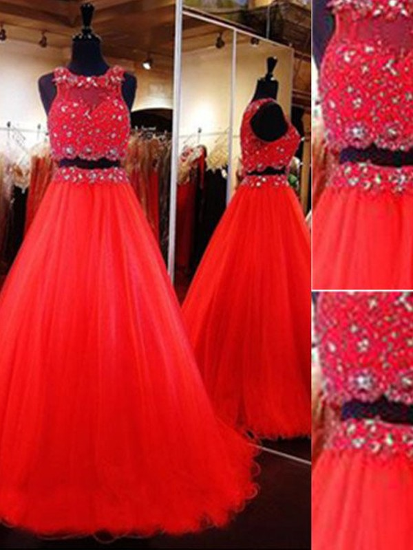 A-Line/Princess Scoop Tulle Sleeveless Floor-Length Two Piece Dresses