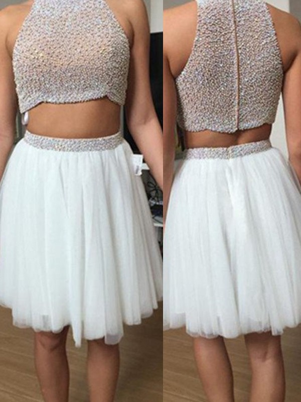 A-Line/Princess High Neck Tulle Sleeveless Short/Mini Two Piece Dresses