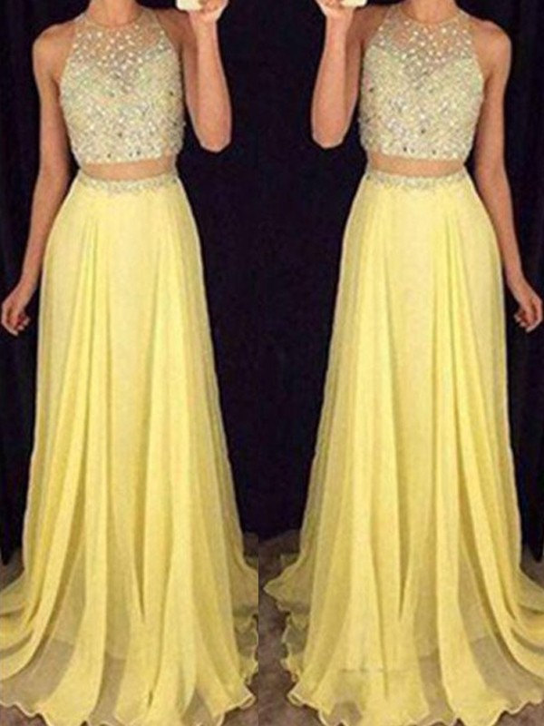 A-Line/Princess Scoop Chiffon Sleeveless Floor-Length Two Piece Dresses