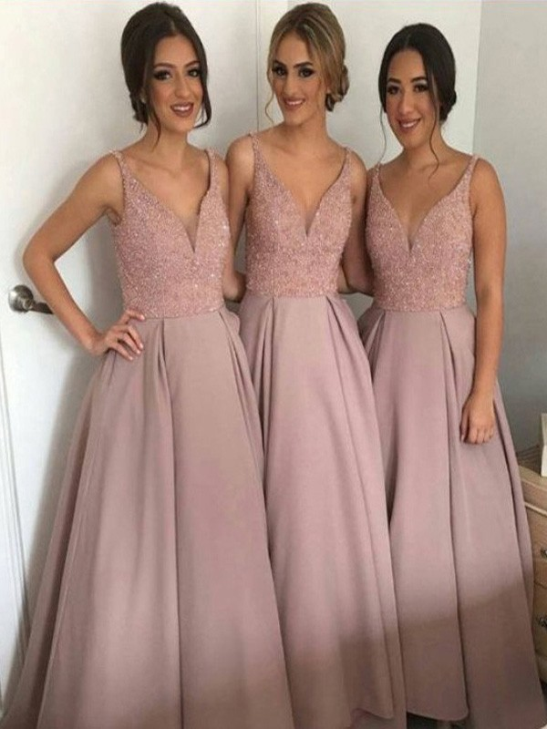 A-Line/Princess V-neck Taffeta Sleeveless Floor-Length Bridesmaid Dresses