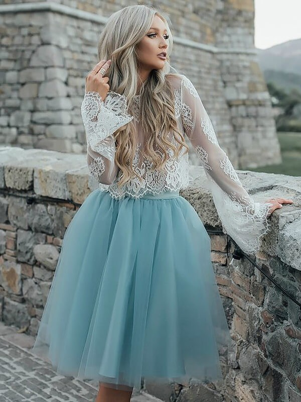 A-line/Princess Scoop Tulle Long Sleeves Short/Mini Dresses