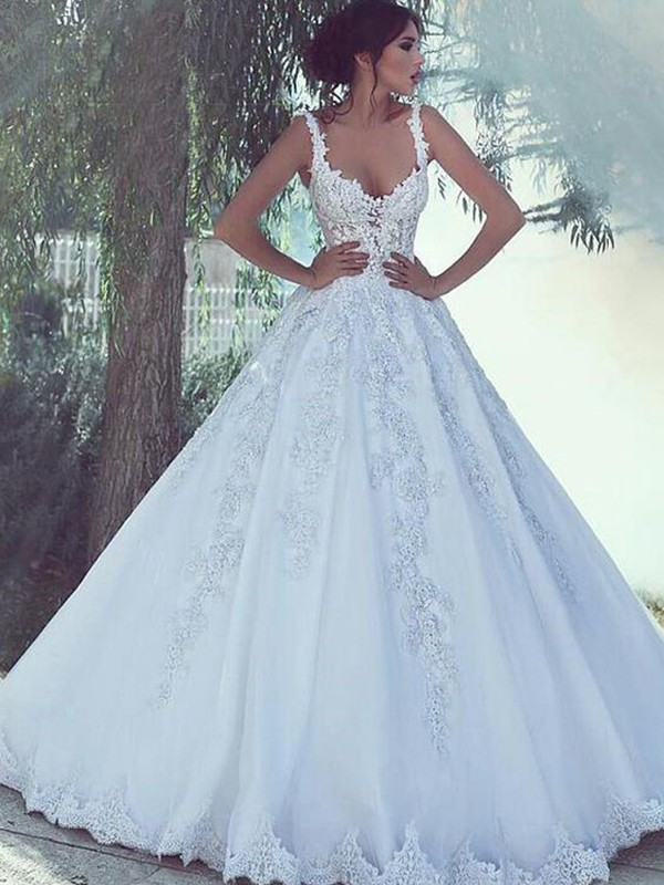Ball Gown Scoop Satin Sleeveless Sweep/Brush Train Wedding Dresses