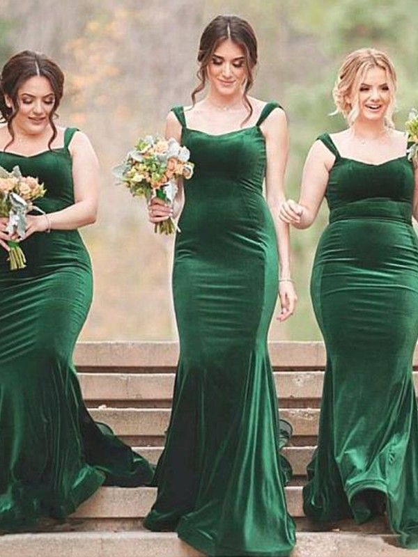 Sheath/Column SpaghettiStraps Velvet Sleeveless Sweep/Brush Train Bridesmaid Dresses