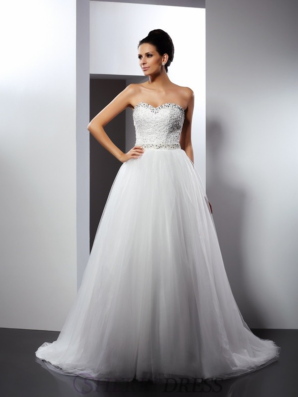 b99af05e34d A-Line Princess Spaghetti Straps Tulle Sleeveless Chapel Train Wedding  Dresses ...