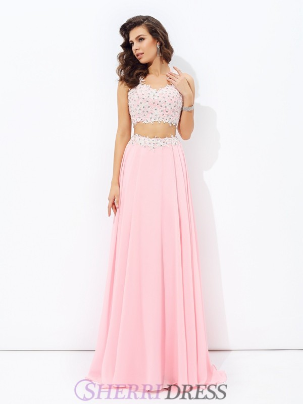 063517b12cd6a A-line/Princess Straps Chiffon Sleeveless Floor-Length Two Piece Prom  Dresses