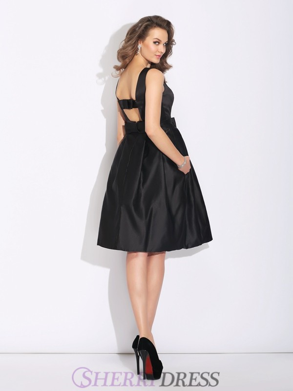 31e78b114bc A-Line Princess Bateau Satin Sleeveless Short Mini Cocktail Dresses ...