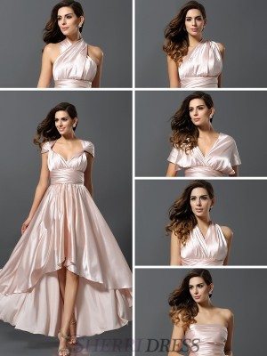 Sheath/Column Silk like Satin Sleeveless Asymmetrical Bridesmaid Dresses