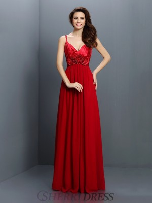 A-Line/Princess V-neck Chiffon Sleeveless Floor-Length Bridesmaid Dresses