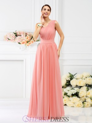 A-Line/Princess One-Shoulder Chiffon Sleeveless Floor-Length Bridesmaid Dresses