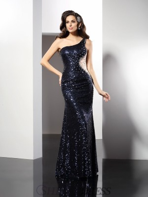 Sheath/Column One-Shoulder Sequins Sleeveless Floor-Length Dresses