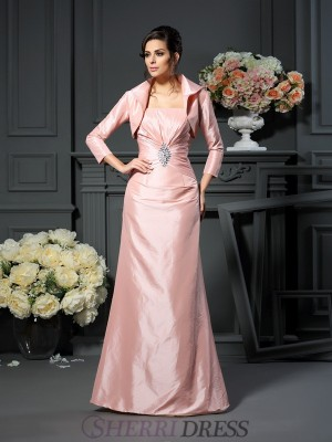 A-Line/Princess Strapless Taffeta Sleeveless Floor-Length Mother of the Bride Dresses