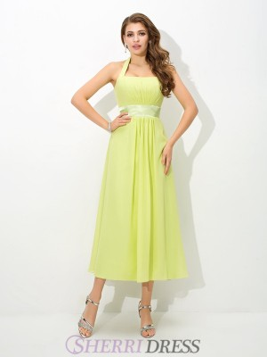 A-Line/Princess Halter Chiffon Sleeveless Ankle-Length Bridesmaid Dresses