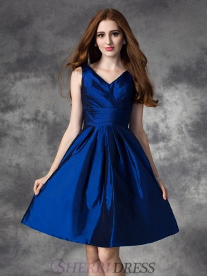 A-line/Princess V-neck Taffeta Sleeveless Short/Mini Bridesmaid Dresses