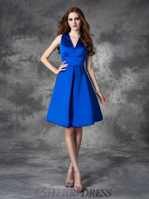 A-line/Princess V-neck Satin Sleeveless Short/Mini Bridesmaid Dresses