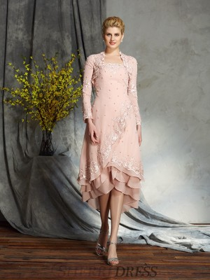 A-Line/Princess Strapless Chiffon Sleeveless Knee-Length Mother of the Bride Dresses