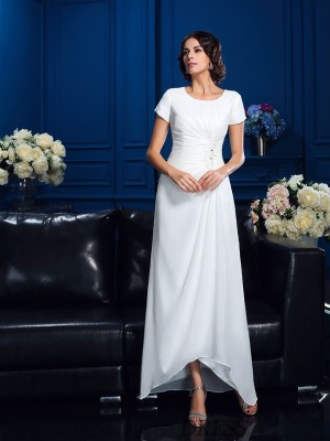 A-Line/Princess Scoop Chiffon Short Sleeves Asymmetrical Mother of the Bride Dresses