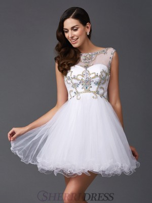 A-Line/Princess Scoop Net Sleeveless Short/Mini Prom Dresses