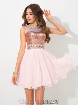A-Line/Princess Sheer Neck Chiffon Sleeveless Short/Mini Cocktail Dresses