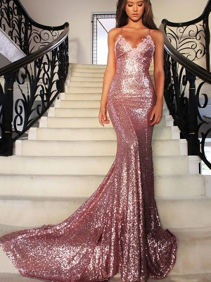 Trumpet/Mermaid V-neck Sequins Sleeveless Sweep/Brush Train Dresses