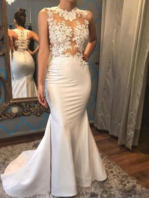 Trumpet/Mermaid Scoop Satin Sleeveless Court Train Wedding Dresses
