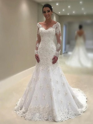 Trumpet-Mermaid V-neck Lace Long Sleeves Court Train Wedding Dresses