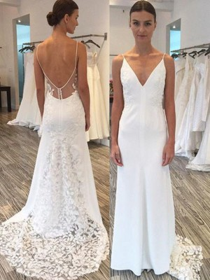 Sheath/Column Spaghetti Straps Satin Sleeveless Sweep/Brush Train Wedding Dresses