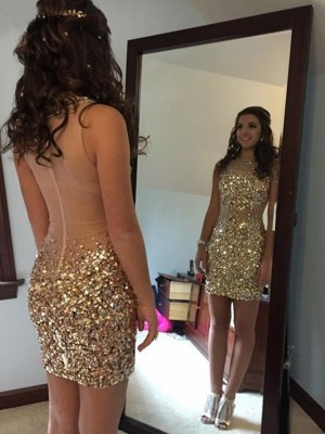 Sheath/Column Bateau Sequins Sleeveless Short/Mini Dresses