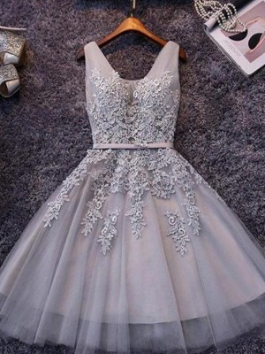 A-Line/Princess Straps Tulle Sleeveless Short/Mini Dresses