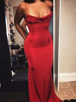Sheath/Column Spaghetti Straps Spandex Sleeveless Floor-Length Dresses