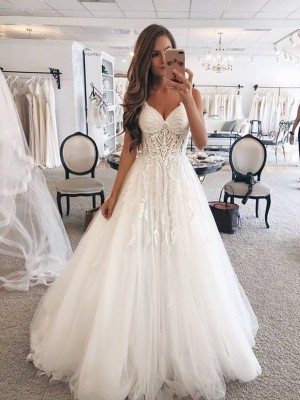 A-Line/Princess Sweetheart Tulle Sleeveless Floor-Length Wedding Dresses