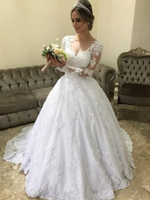 Ball Gown V-neck Satin Long Sleeves Sweep/Brush Train Wedding Dresses