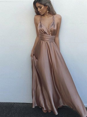 A-Line/Princess Spaghetti Straps Silk like Satin Sleeveless Floor-Length Dresses