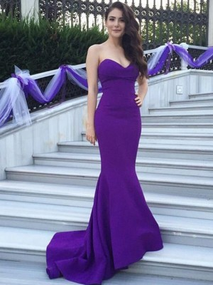 Trumpet/Mermaid Sweetheart Stretch Crepe Sleeveless Sweep/Brush Train Bridesmaid Dresses