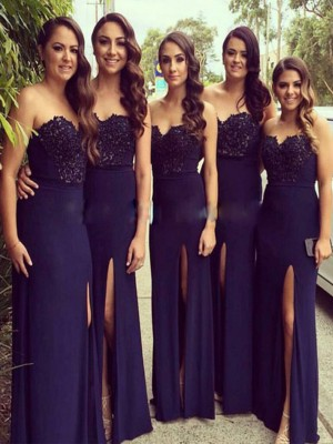 A-Line/Princess Sweetheart Spandex Sleeveless Floor-Length Bridesmaid Dresses