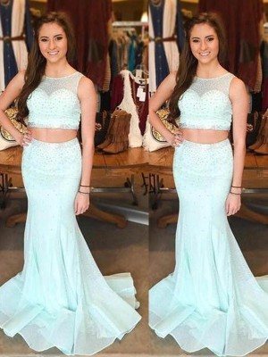 Trumpet/Mermaid Scoop Tulle Sleeveless Sweep/Brush Train Two Piece Prom Dresses