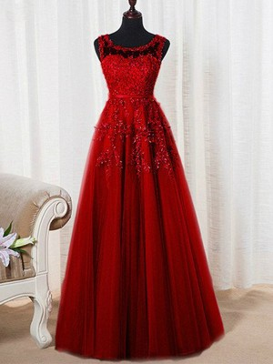 A-Line/Princess Scoop Tulle Sleeveless Floor-Length Prom Dresses