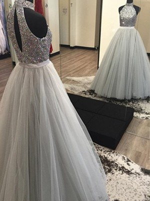 A-Line/Princess Halter Tulle Sleeveless Floor-Length Prom Dresses