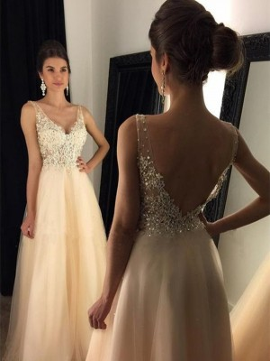 A-Line/Princess V-Neck Tulle Sleeveless Sweep/Brush Train Prom Dresses