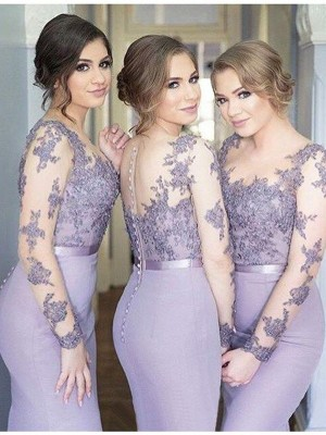 Trumpet/Mermaid Scoop Jersey Long Sleeves Floor-Length Bridesmaid Dresses