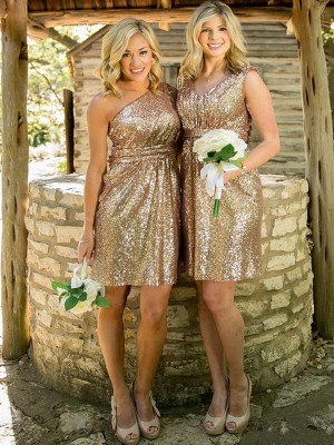 Sheath/Column Sweetheart Sequins Sleeveless Short/Mini Bridesmaid Dresses