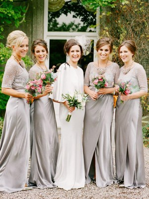 A-Line/Princess Scoop Satin 1/2 Sleeves Floor-Length Bridesmaid Dresses