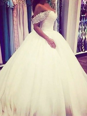 Ball Gown Off-the-Shoulder Tulle Sleeveless Sweep/Brush Train Wedding Dresses