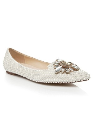Women's Patent Leather Flat Heel Closed Toe With Pearl Rhinestone Casual Flat Shoes