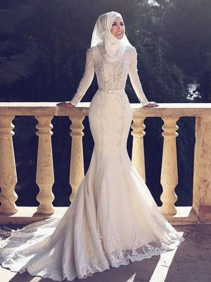 Trumpet/Mermaid Jewel Tulle Long Sleeves Sweep/Brush Train Wedding Dresses